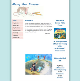 weebly template customized for Mary Ann Fraser, children's author illustrator's website