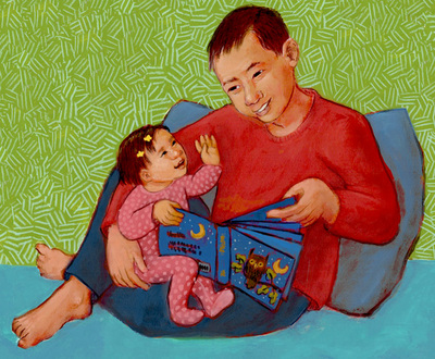 Daddy and little girl with a favorite story, illustration by Siri Weber Feeney