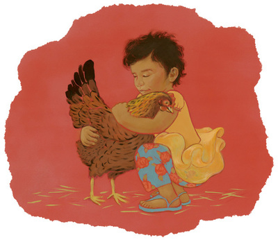 Chicken Hugs: A 4 year old girl hugging her pet chicken, illustration by Siri Weber Feeney