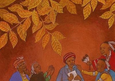 Sequoya is finally pleased the elders with his syllabary, Sequoya and His Talking Leaves, illustration by Siri Weber Feeney