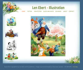 weebly template customized for Len Ebert, illustrator's website
