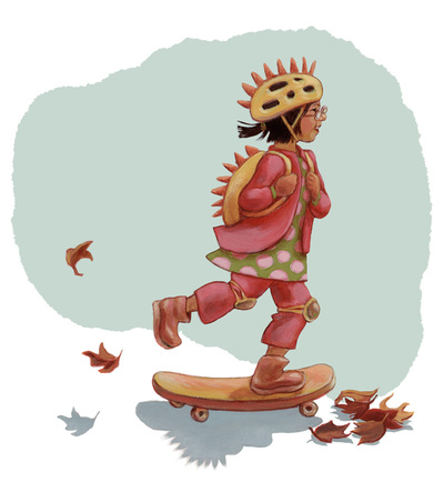 Skateboard girl on the way to school, illustration by Siri Weber Feeney