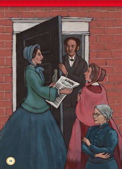 Susan B. Anthony and Lucy Stone petitioning for women's right to vote in the USA, Suffrage Sisters, illustrated by Siri Weber Feeney