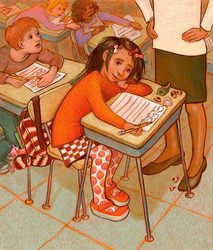 A little artist at school, drawing instead of  . . ., illustration by Siri Weber Feeney