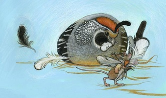 A field mouse waving goodbye to a California quail, illustration by Siri Weber Feeney