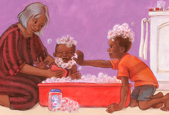 Grandma and big brother give baby brother a bubble bath. 2-page spread., illustration by Siri Weber Feeney