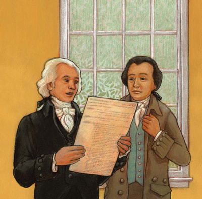 James Madison reading, Writing the U.S. Constitution, illustrated by Siri Weber Feeney