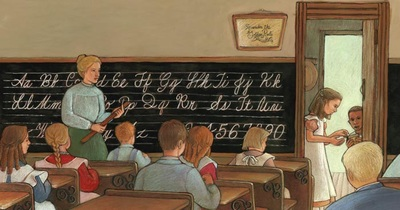 Booker T. Washington seeing a classroom for the first time, illustrated by Siri Weber Feeney