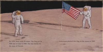 The flag of the United States on the moon, The First American Flag, illustrated by Siri Weber Feeney