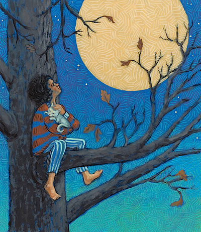 Girl and cat visit moon from up in the tree, illustration by Siri Weber Feeney