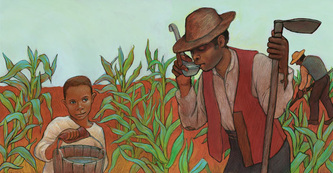 Booker T. Washington was a slave as a child and helped in the fields, illustrated by Siri Weber Feeney