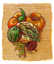 Powhattan Harvest: beans, corn and squash on a woven mat, illustrated by Siri Weber Feeney