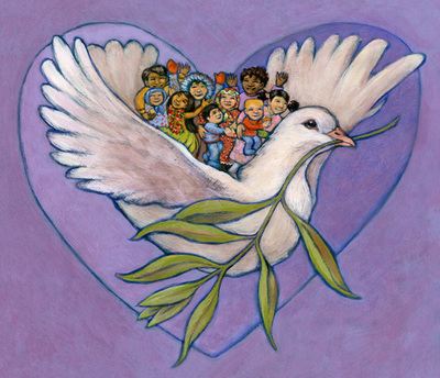 Peace dove with the world's children, illustration by Siri Weber Feeney