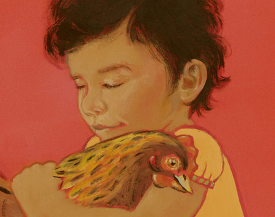 Chicken Hugs: A 4 year old girl hugging her pet chicken (detail), illustration by Siri Weber Feeney