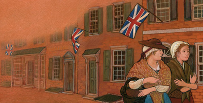 Colonial flags flying as women walking down the street, The First American Flag, illustrated by Siri Weber Feeney