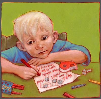 A boy writing a sorry letter after he stole some candy, illustration by Siri Weber Feeney