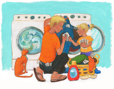 Poem in my pocket day illustration of an older brother helped by his sister with his laundry, and finding stray poems, illustration by Siri Weber Feeney