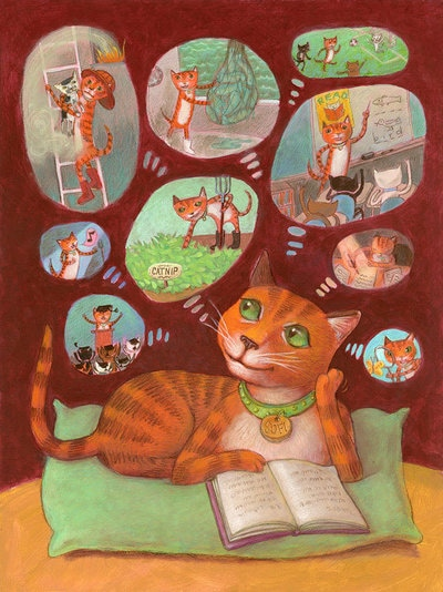 A young cat thinking about what she wants to do when she grows up, illustration by Siri Weber Feeney