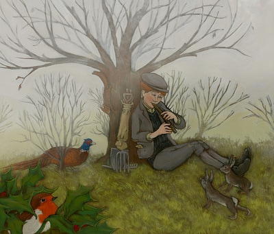 Dickon as Mary first sees him in The Secret Garden, illustration by Siri Weber Feeney