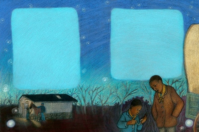 Father and son share a summer night on the way to freedom, illustration by Siri Weber Feeney