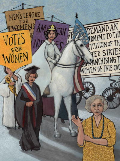 1913 parade for women's voting rights in the USA, which was engulfed by protesters, Suffrage Sisters, illustrated by Siri Weber Feeney