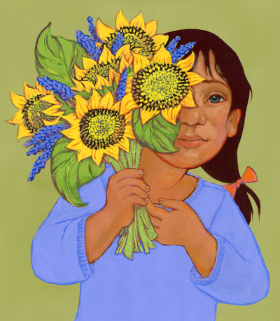 It takes more strength to love than to hate; girl offering flowers, illustration by Siri Weber Feeney